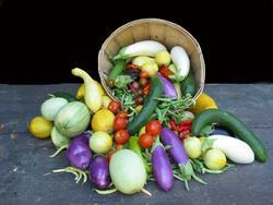 Vegetables spilling from basket David Giroux